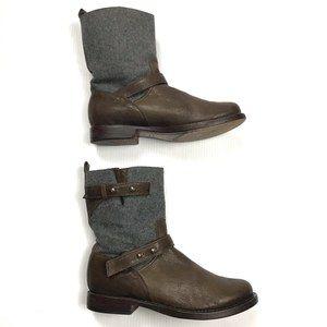 ❤️rag & bone Leather & Wool Pull On Moto Boots 8